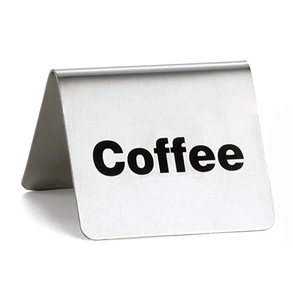 "Tablecraft B1 ""Coffee"" Table Tent Sign - 2"" x 2.5"", Stainless"