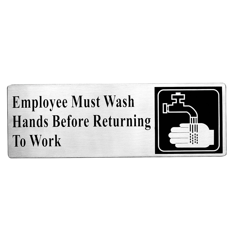 "Tablecraft B22 3 x 9"", Employees Must Wash Hands Before Returning To Work"