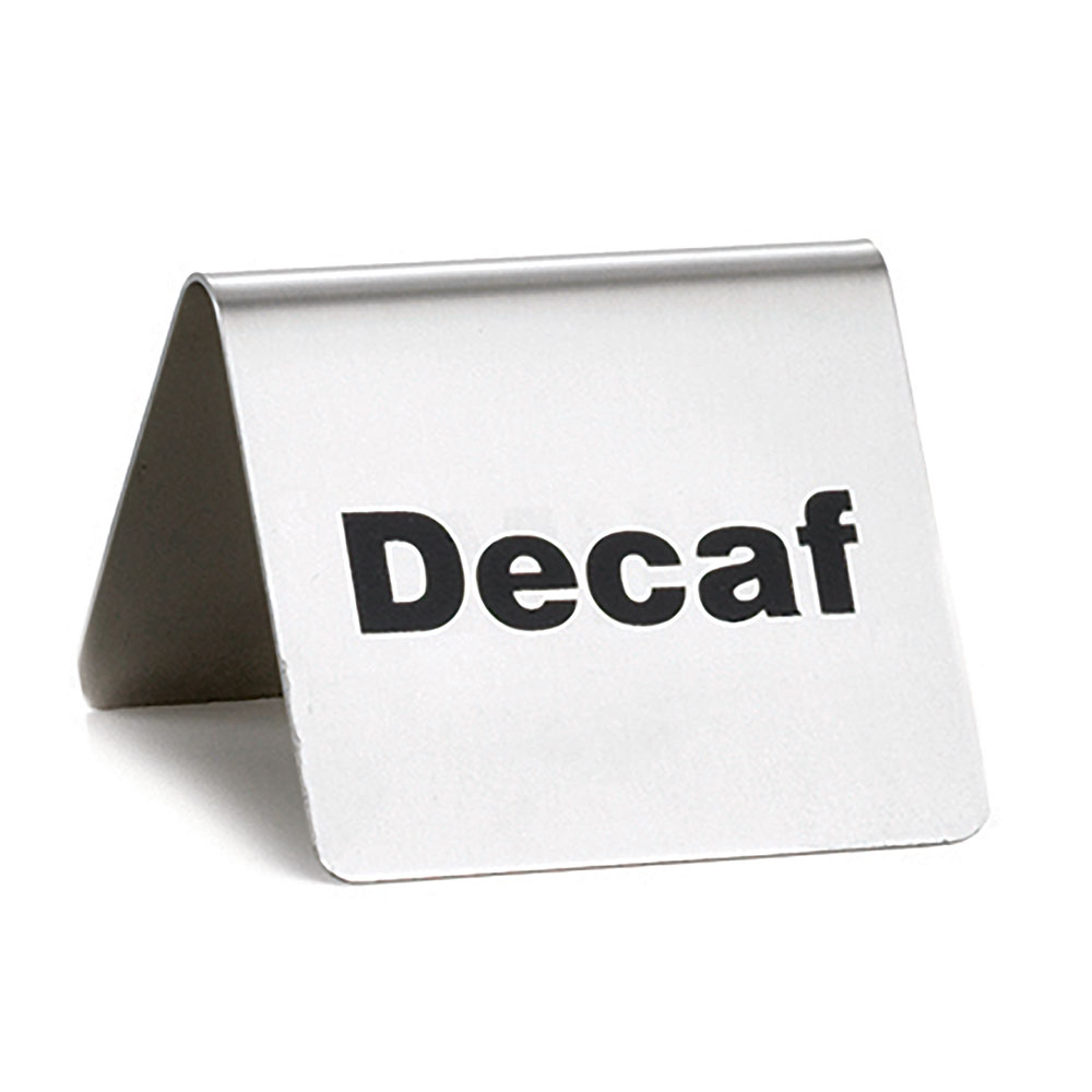 "Tablecraft B2 ""Decaf"" Table Tent Sign - 2"" x 2.5"", Stainless"