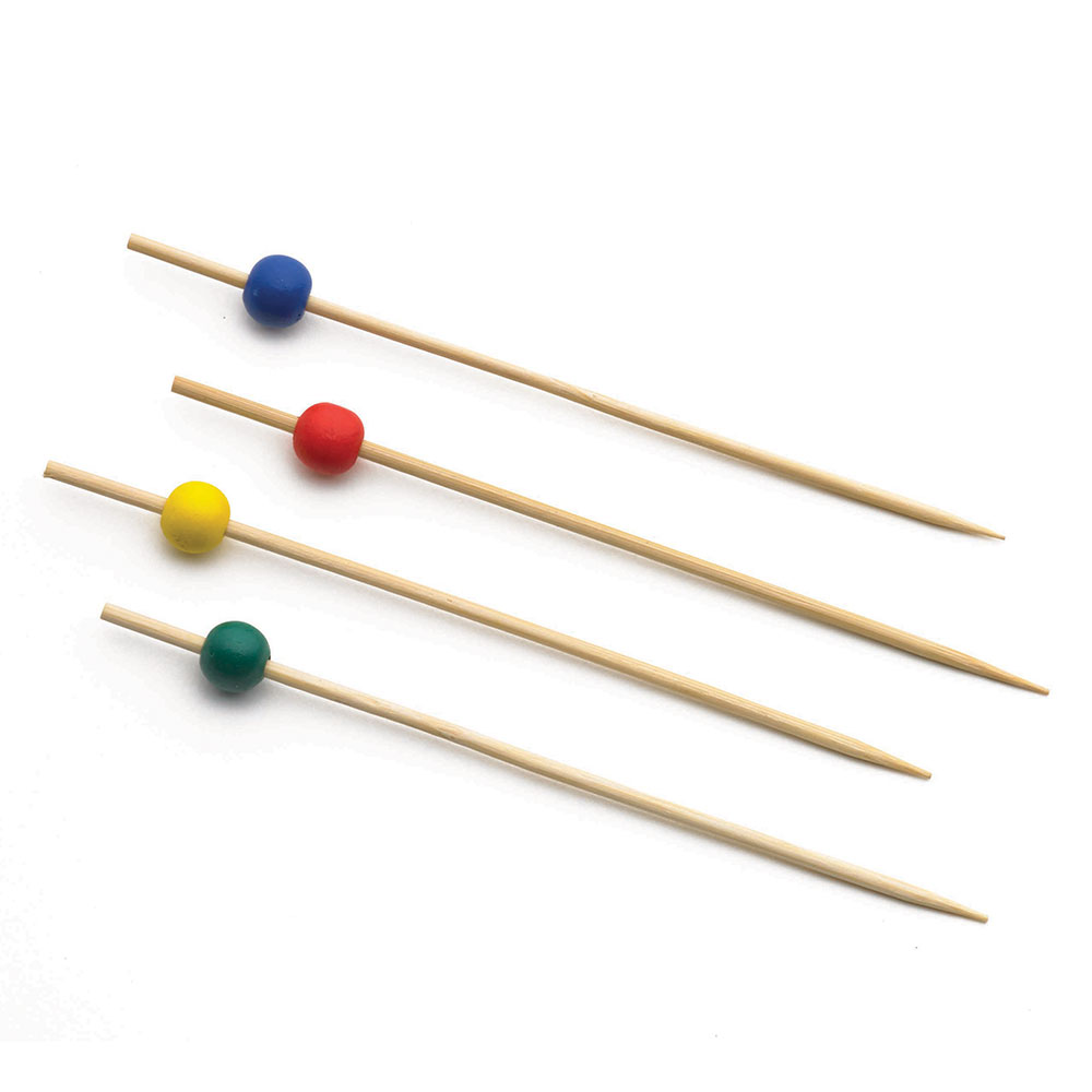 "Tablecraft BAMBA35EA 3.5"" Bamboo Pick w/ Colored Ball"