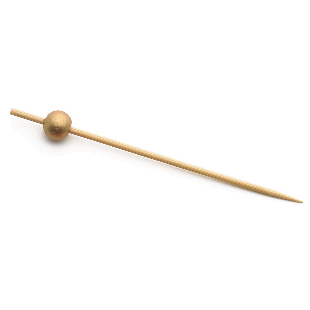 "Tablecraft BAMBG35 3.5"" Bamboo Pick w/ Gold Ball"