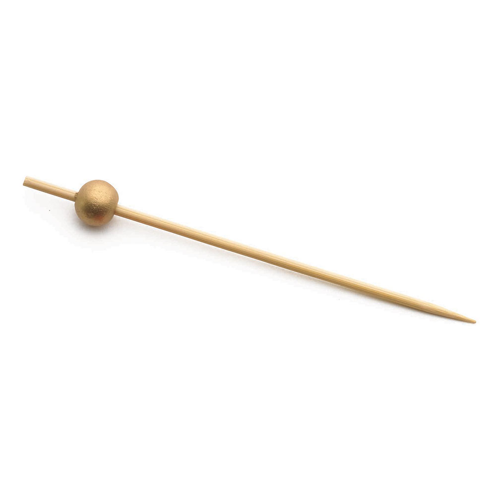 "Tablecraft BAMBG45 4.5"" Bamboo Pick w/ Gold Ball"