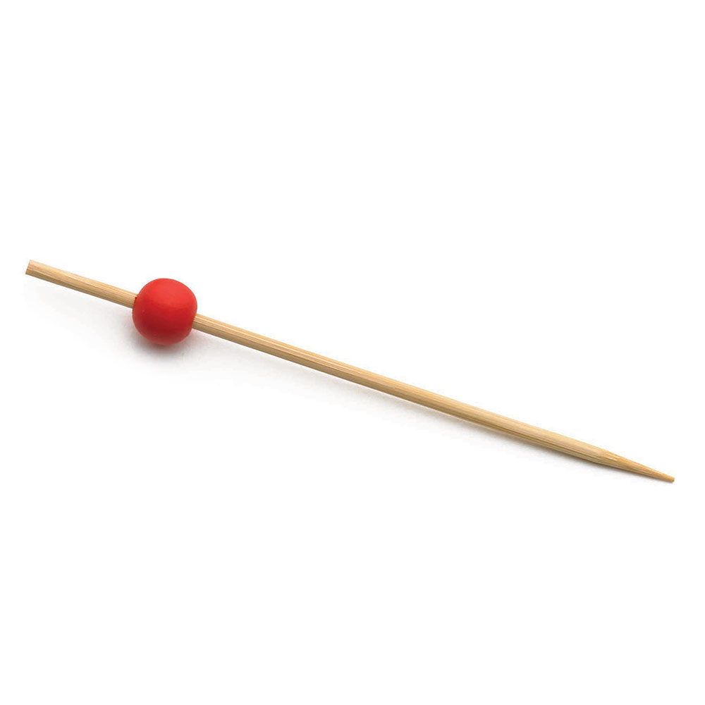 "Tablecraft BAMBR35 3.5"" Bamboo Pick w/ Red Ball"