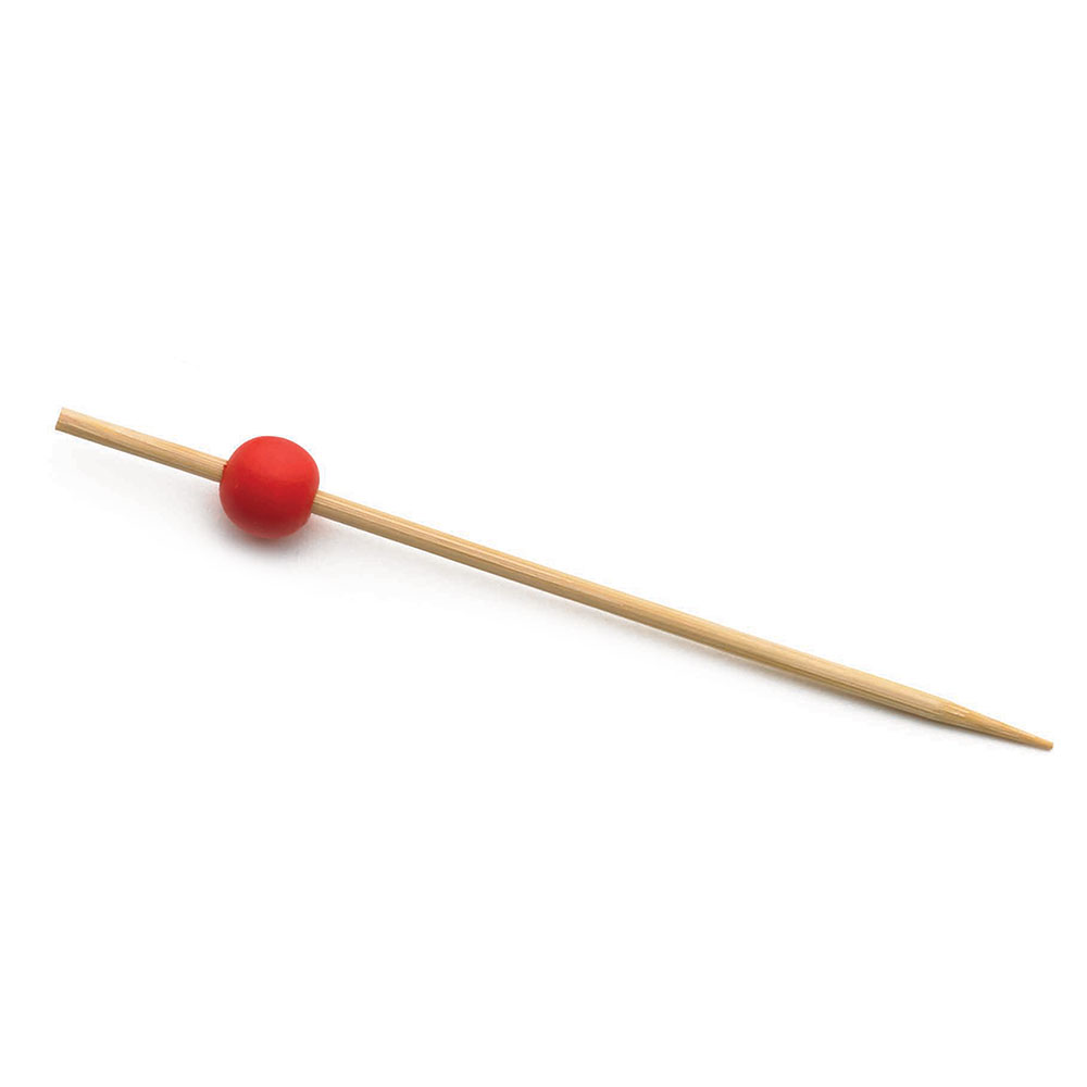 "Tablecraft BAMBR45 4.5"" Bamboo Pick w/ Red Ball"
