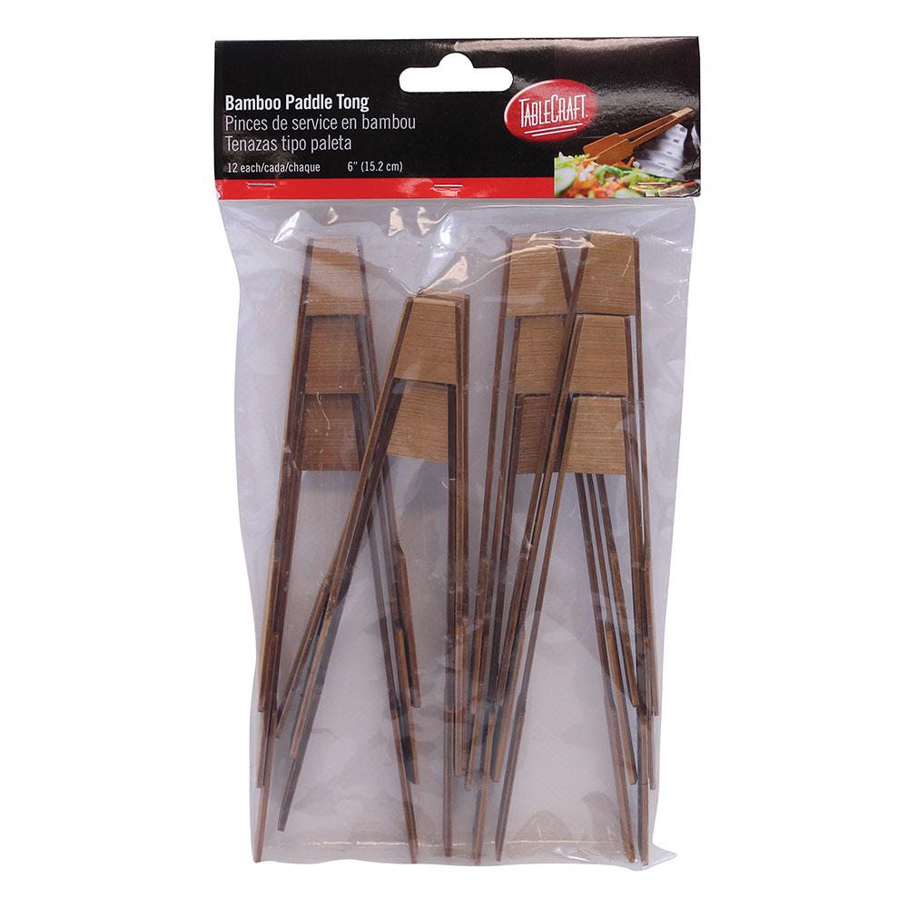 "Tablecraft BAMDT6 6"" Paddle Tong - Bamboo"