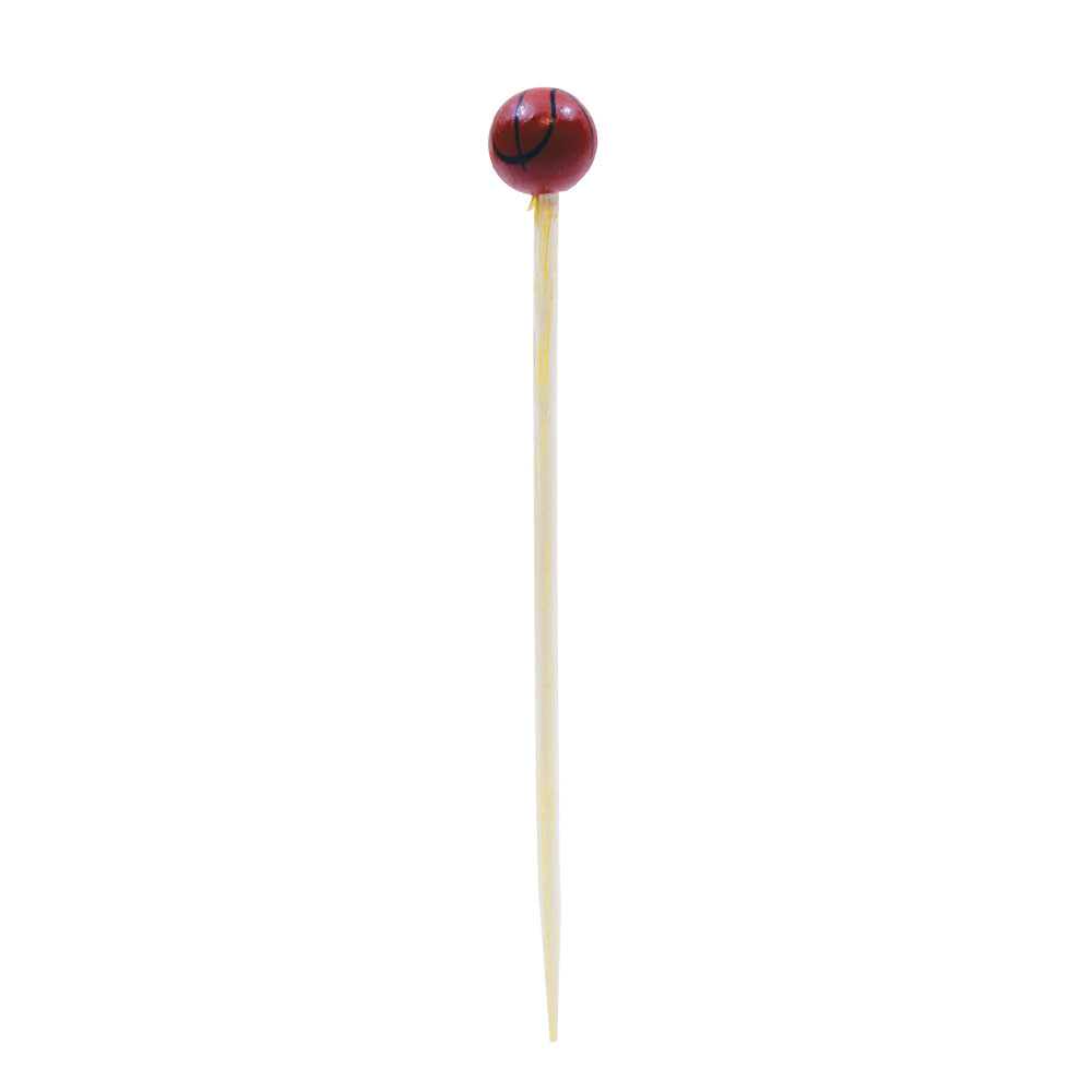 "Tablecraft BAMSP245 4.5"" Bamboo Basketball Pick"