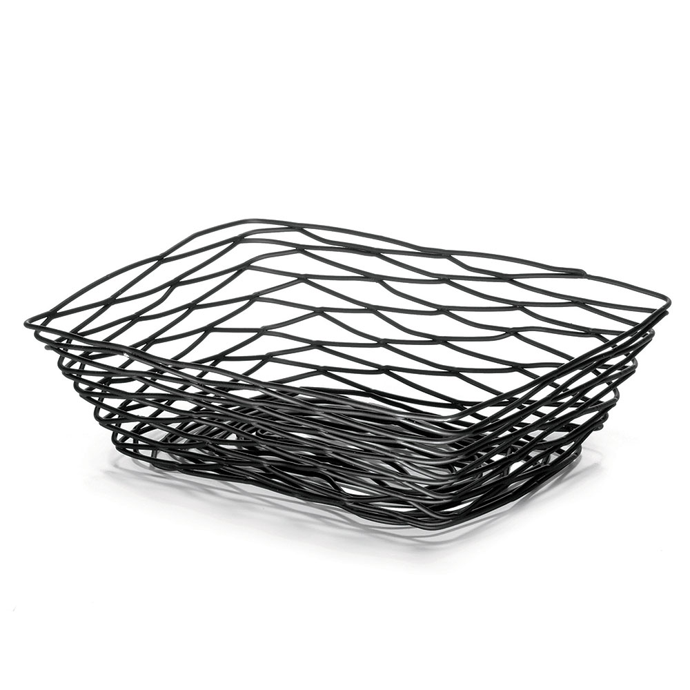 "Tablecraft BK17209 Artisan Collection Basket, 9"" X 6"" X 2.5 in, Rectangular, Black"