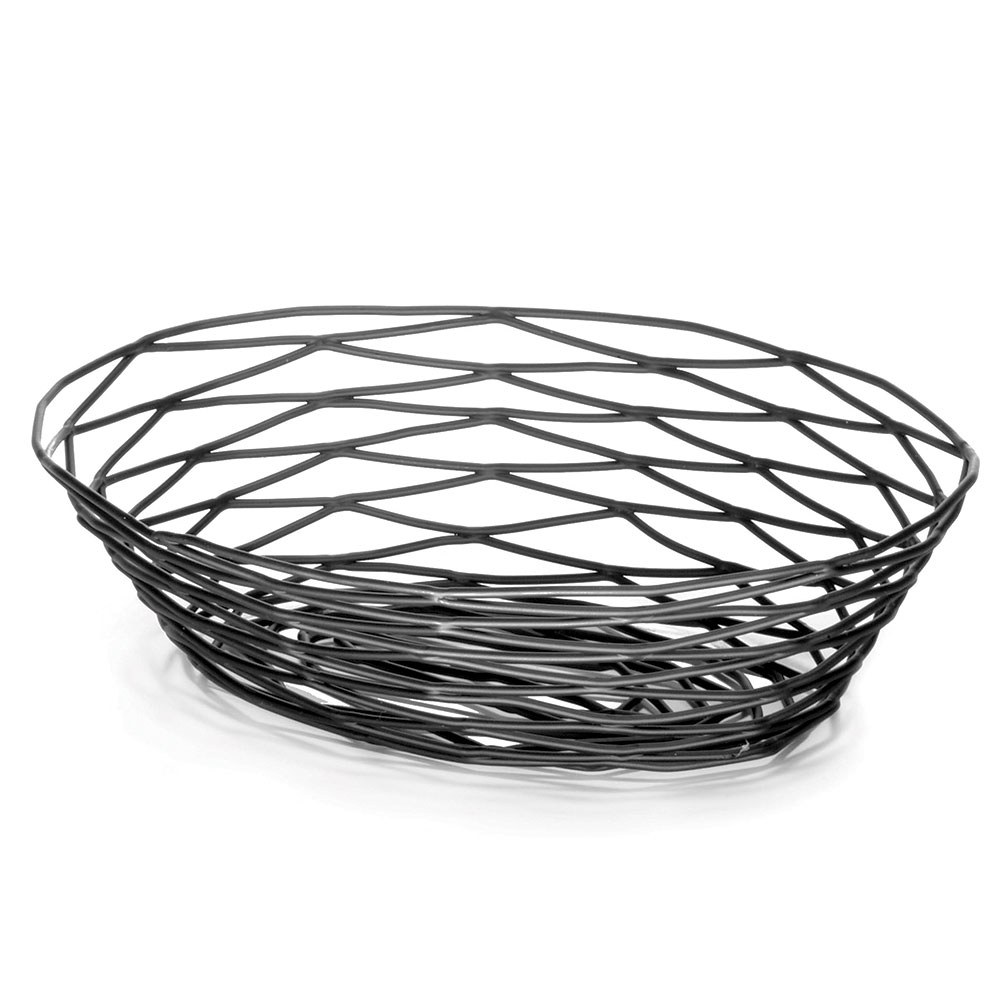 "Tablecraft BK17410 Artisan Collection Basket, 10"" X 7"" X 2.5 in, Oval, Black"