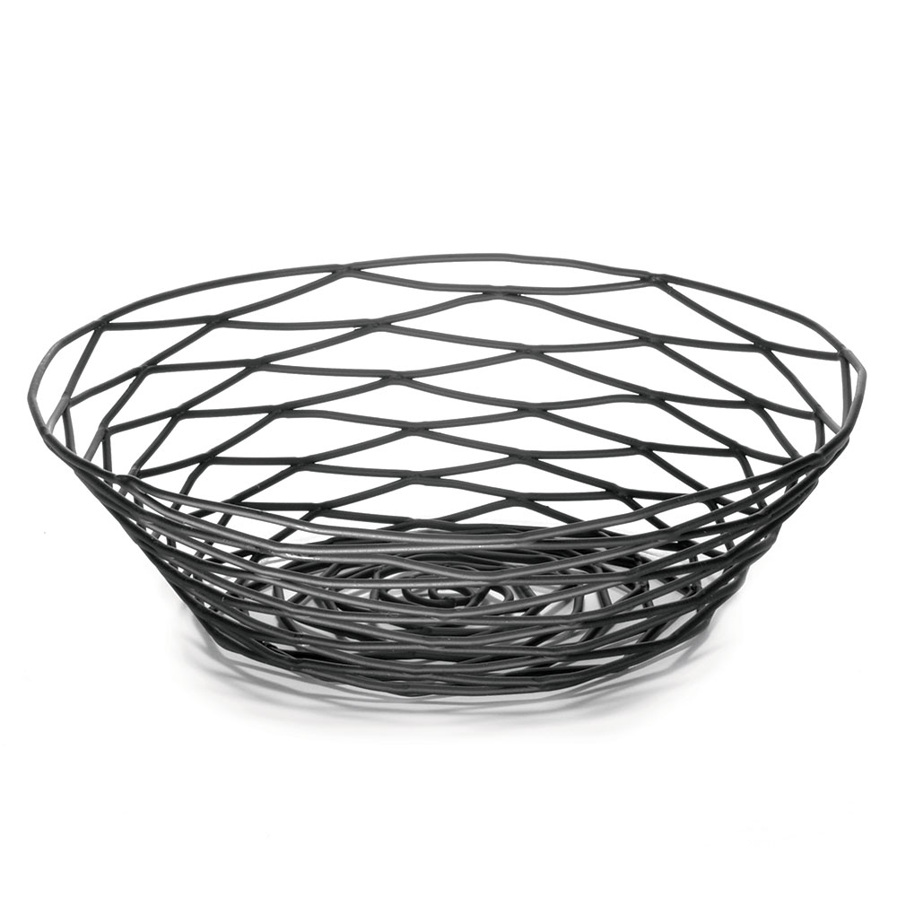 Tablecraft BK17508 Artisan Collection Basket, 8 in x 2 in Round, Black