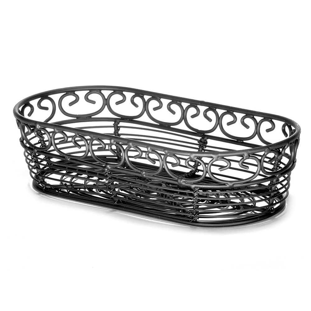 "Tablecraft BK21709 Oblong Mediterranean Collection Basket, 9 x 4 x 2"", Black"