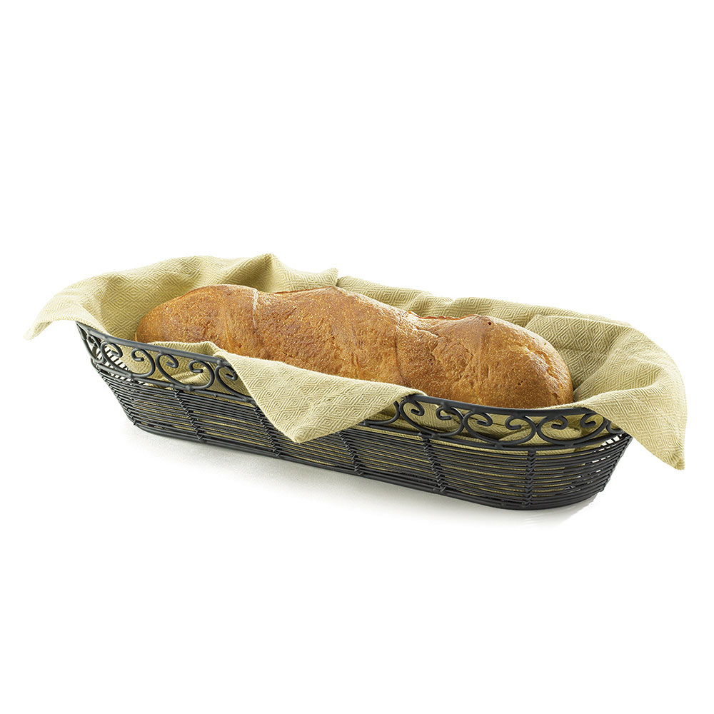 Tablecraft BK21815 Oblong Mediterranean Collection Basket, 15 x 6.25 x 3-in, Black