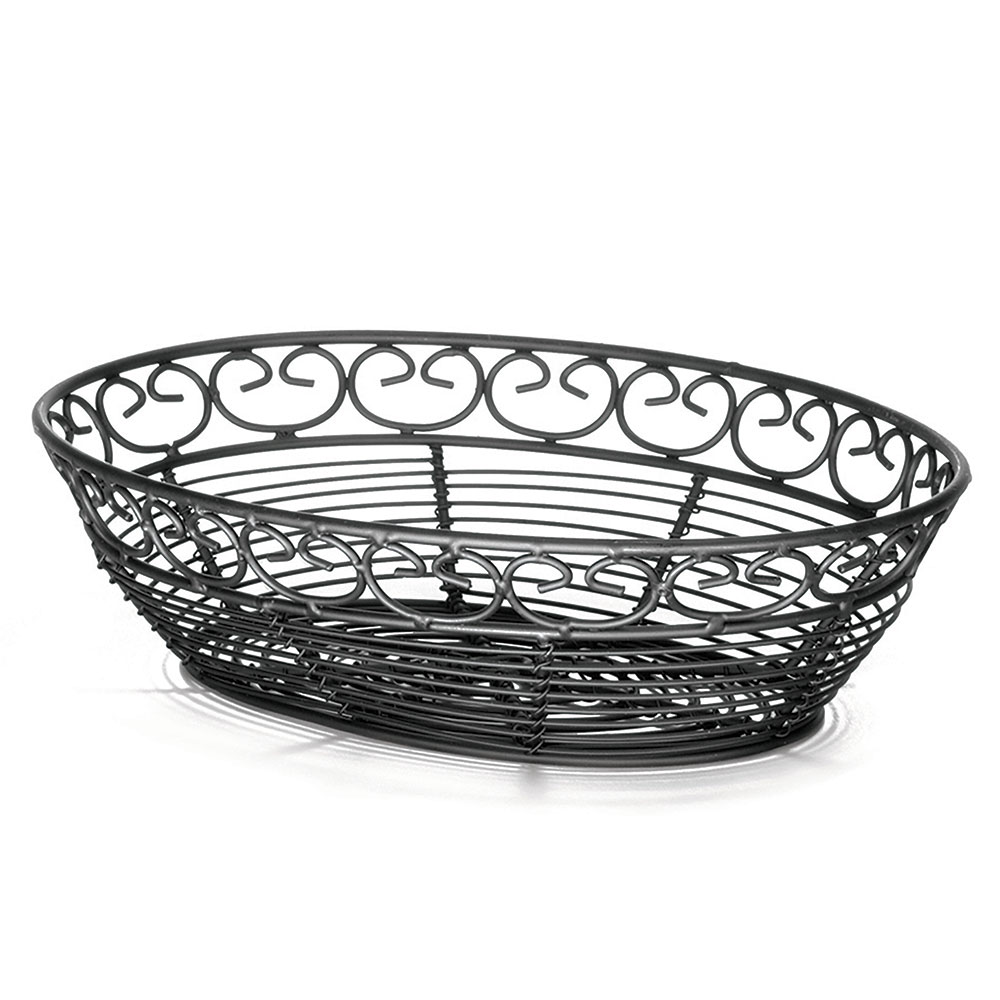 Tablecraft BK27409 Oval Mediterranean Collection Basket, 9 L x 6.25 W x 2.25 in H, Black Metal