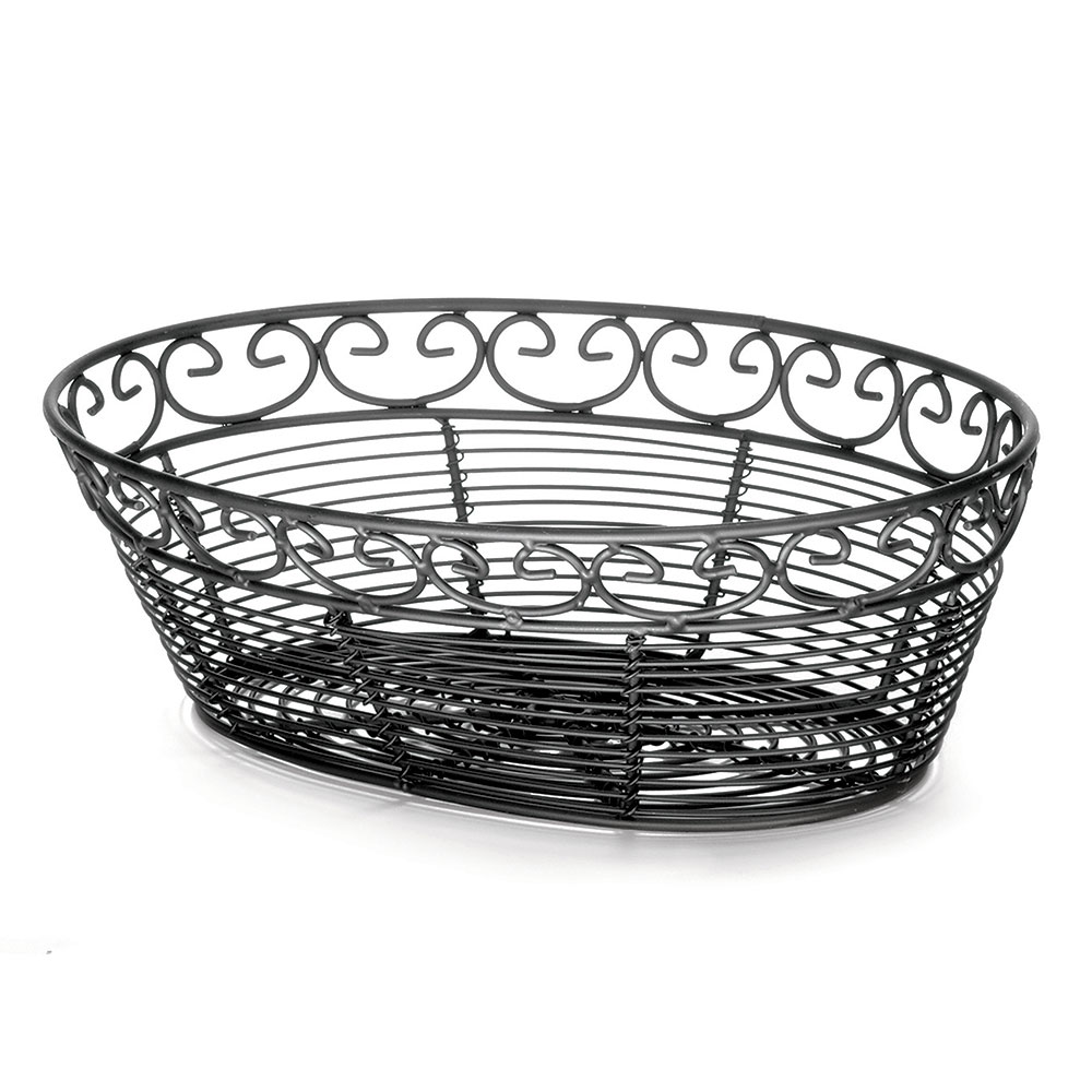 Tablecraft BK27410 Oval Mediterranean Collection Basket, 10 L x 6.5 W x 3 in H, Black Metal