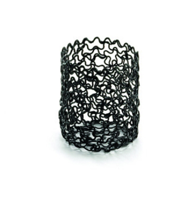 Tablecraft BK355 Round Boucle Collections Sugar Packet Holder, 2 x 2.5 in, Black Metal