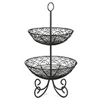 "Tablecraft BKT2 Mediterranean Collection Basket, Two 10 & 12"" Tiers w/ Legs, Metal, Black"