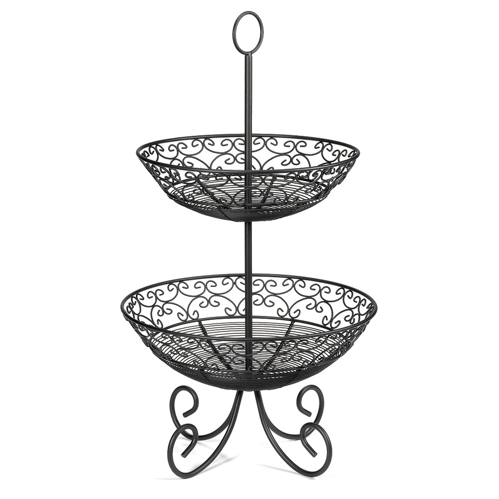 Tablecraft BKT2 Mediterranean Collection Basket, Two 10 & 12 in Tiers w/ Legs, Metal, Black