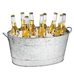Tablecraft BT1914 Oval Beverage Tub, Double Wall, 19 L x 14 W x 9 in H,  Galvanized Aluminum