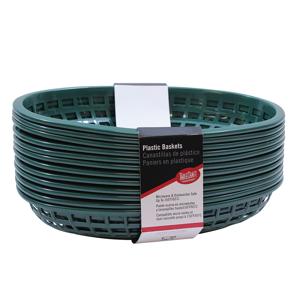 "Tablecraft C1074FG Cash And Carry Classic Baskets, 9-3/8 x 6 x 1-7/8"", Oval, Plastic, Forest Green"