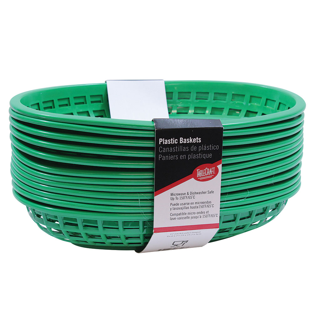 "Tablecraft C1074G Cash And Carry Classic Baskets, 9-3/8 x 6 x 1-7/8"", Oval, Plastic, Green"