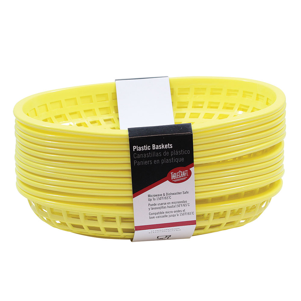 "Tablecraft C1074Y Cash And Carry Classic Baskets, 9-3/8 x 6 x 1-7/8"", Oval, Plastic, Yellow"