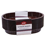 "Tablecraft C1076BR Cash And Carry Chicago Baskets, 10.5 x 7 x 1.5"", Oval, Plastic, Brown"