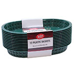 "Tablecraft C1076FG Cash And Carry Chicago Baskets, 10.5 x 7 x 1.5"", Oval, Plastic, Forest Green"