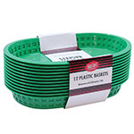 "Tablecraft C1076G Cash And Carry Chicago Baskets, 10.5 x 7 x 1.5"", Oval, Plastic, Green"
