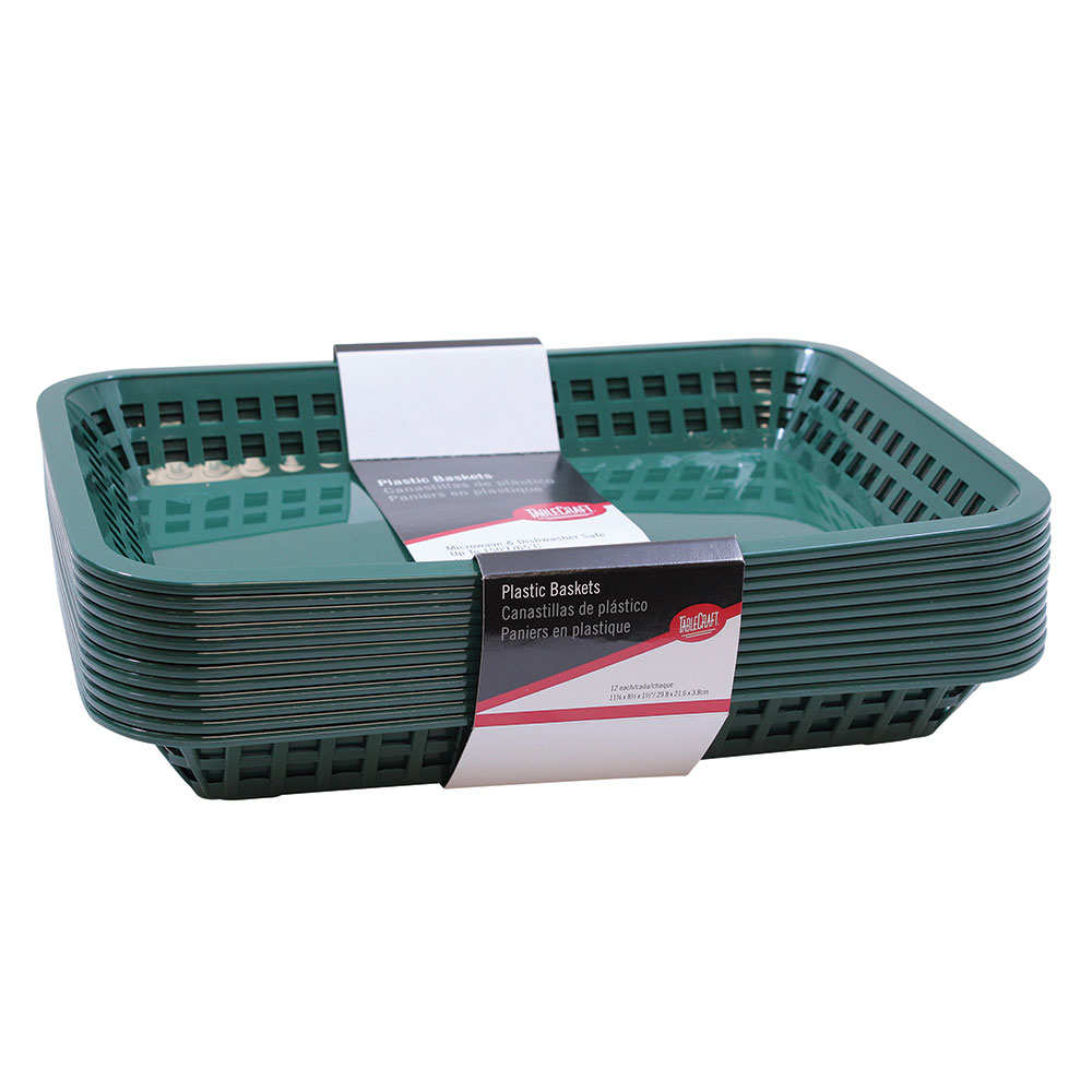 "Tablecraft C1077FG Cash And Carry Grande Baskets, 10.75 x 7.75 x 1.5"", Rectangular, Forest Green"