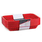 "Tablecraft C1077R Cash And Carry Grande Baskets, 10.75 x 7.75 x 1.5"", Rectangular, Red"