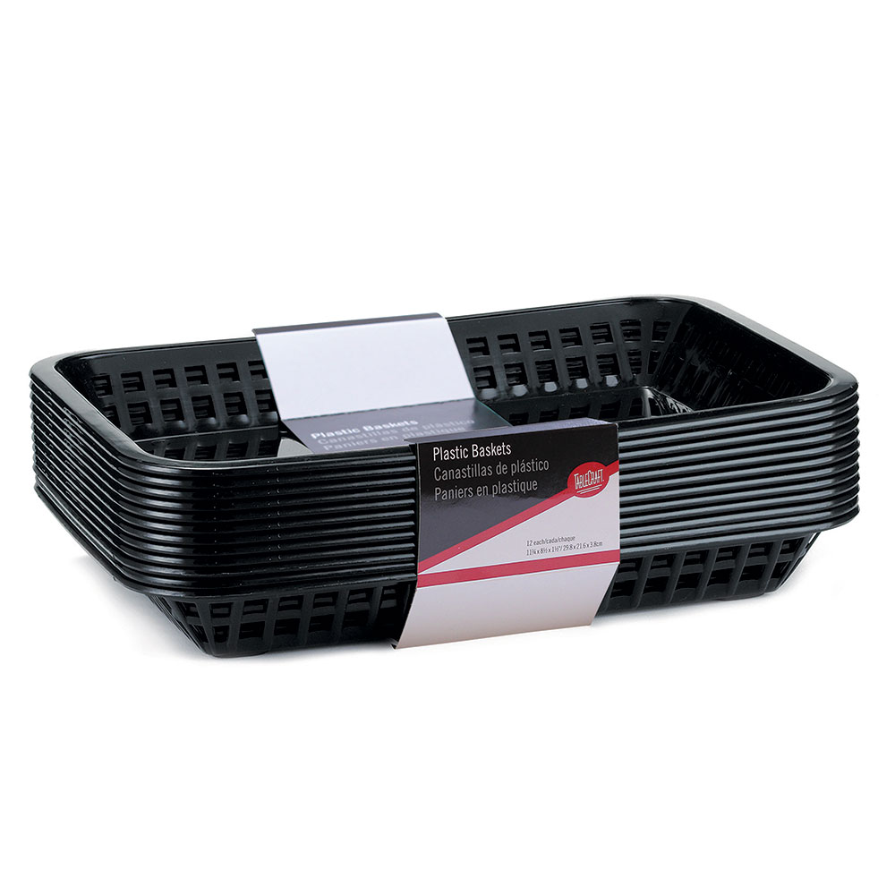 "Tablecraft C1079BK Cash And Carry Mas Grande Baskets, 11.75 x 8.5 x 1.5"", Rectangular, Black"