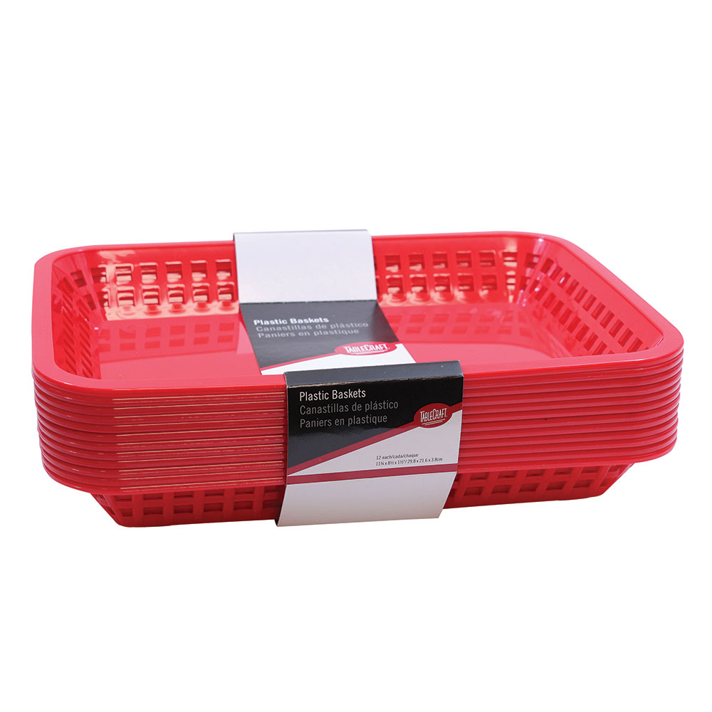 Tablecraft C1079R Cash And Carry Mas Grande Baskets, 11.75 x 8.5 x 1.5-in, Rectangular,Red