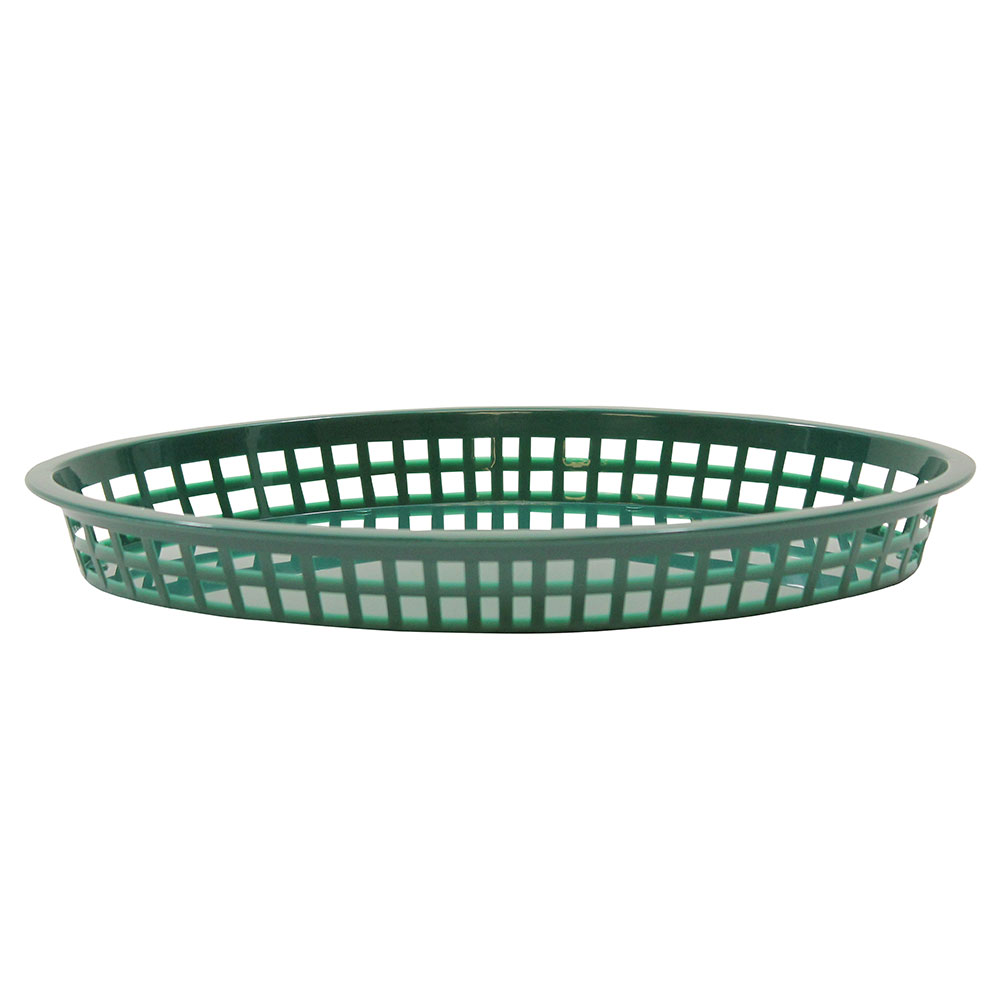 Tablecraft C1086FG Cash And Carry Texas Baskets, 12.75-in x 9.5-in x 1.5-in, Oval, Forest Green