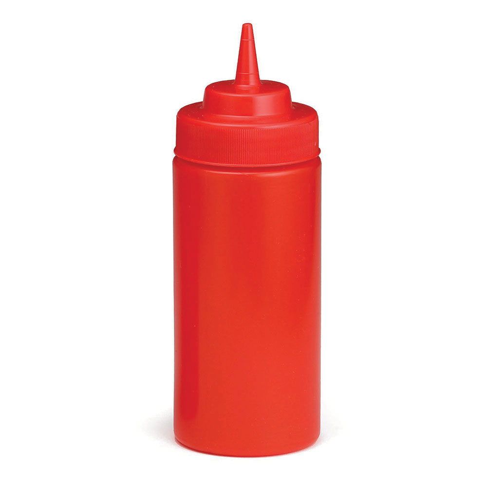 Tablecraft C11663K Cash And Carry Wide Mouth Squeeze Dispenser, 16-oz, Red