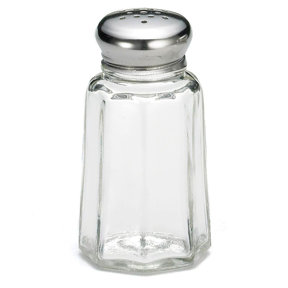 Tablecraft C150-12 Salt / Pepper Shaker, 1 oz, Glass, SS Top