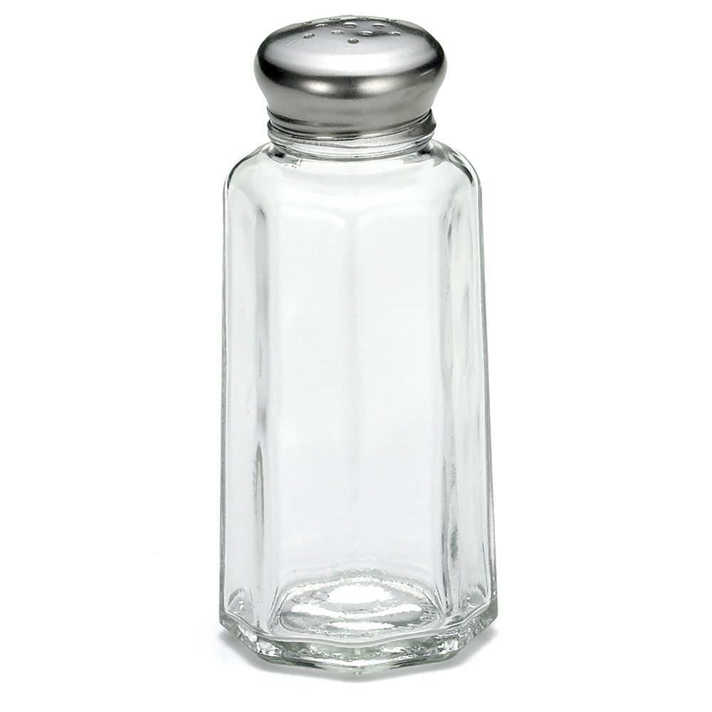 Tablecraft C155-12 Salt / Pepper Shaker, 2 oz, Glass, SS Top