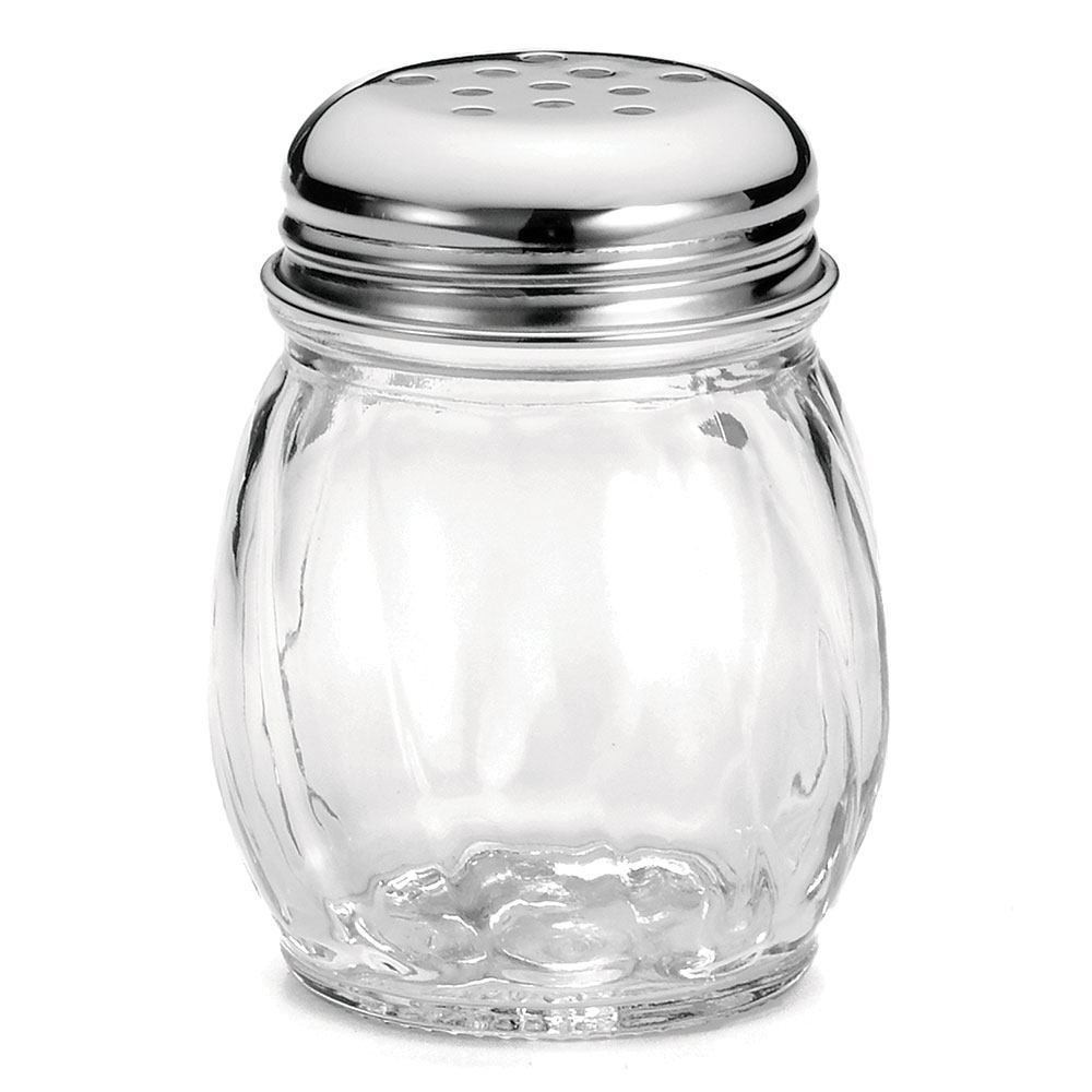 Tablecraft C260-4 Cheese Shakers, 6 oz, Swirl Glass, Chrome Top