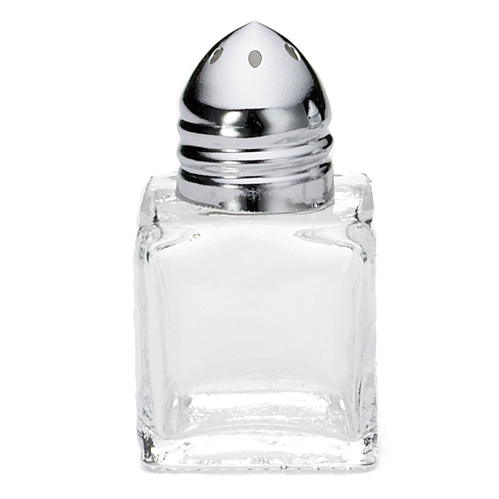 Tablecraft C30A Salt / Pepper Shaker, 1/2 oz, Cube Glass, Chrome Top