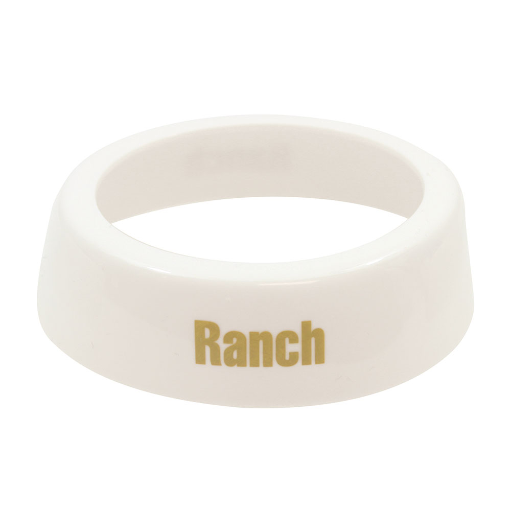 Tablecraft CB6 Dispenser ID Collar, Ranch, White Plastic, Beige Print
