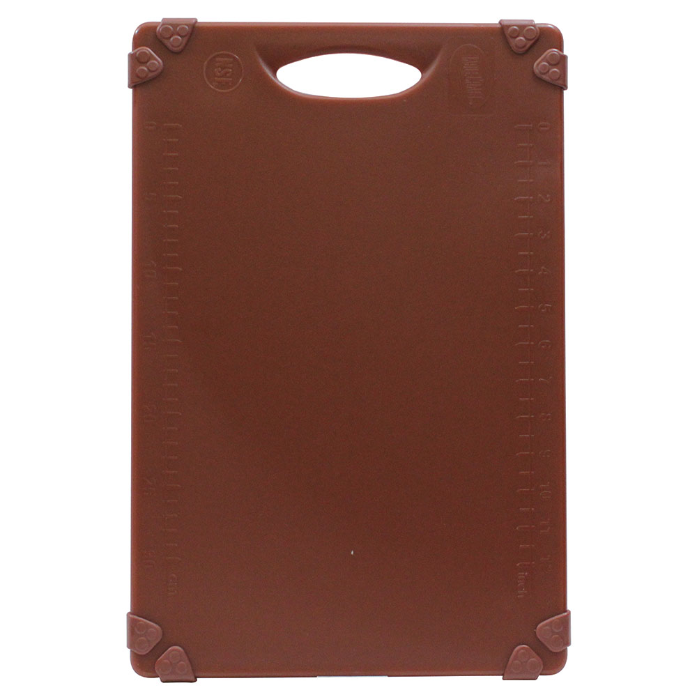 "Tablecraft CBG1218ABR Cutting Board w/ Anti-Slip Grips, 12"" x 18"", Polyethylene, Brown"