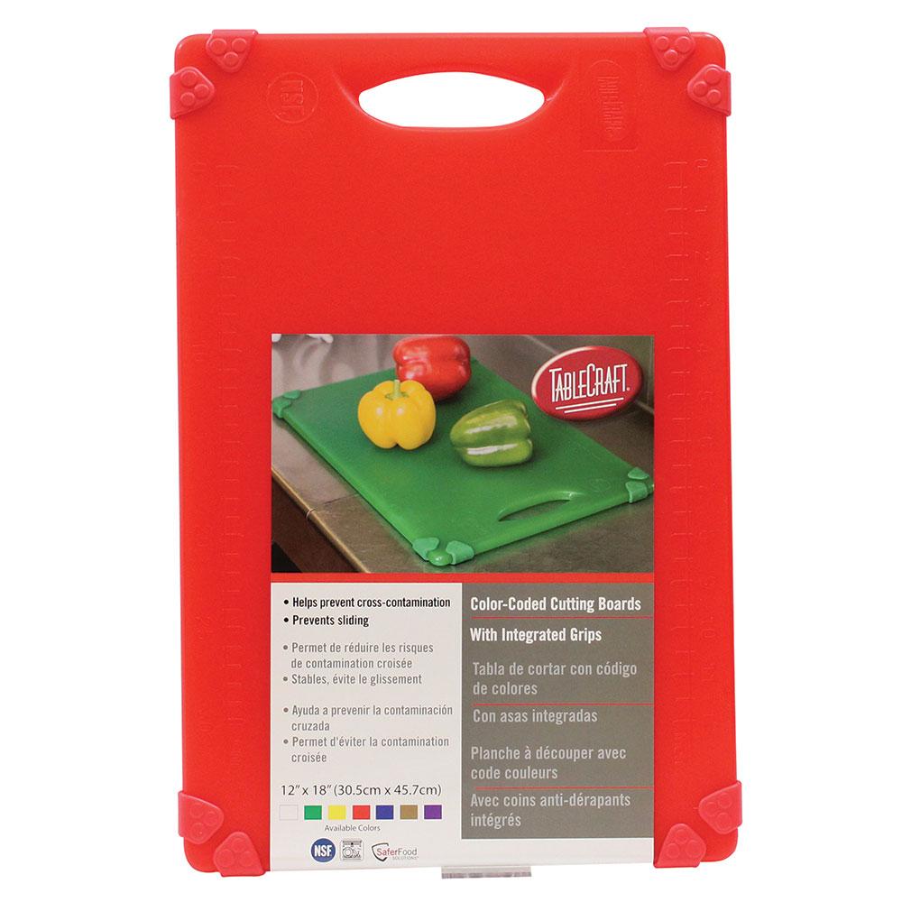 """Tablecraft CBG1218ARD Cutting Board w/ Anti-Slip Grips, 12"""" x 18"""", Polyethylene, Red"""
