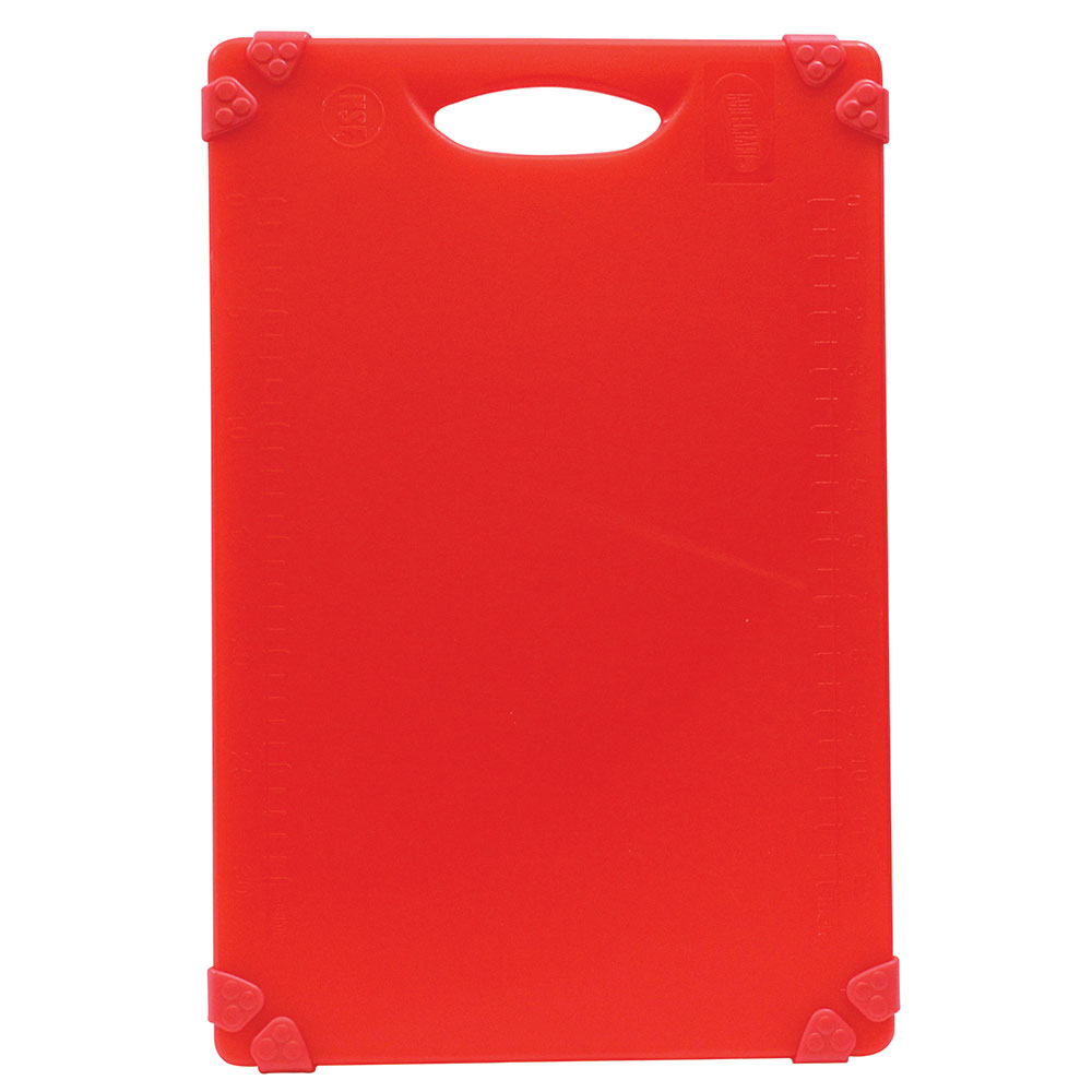 "Tablecraft CBG1218ARD Cutting Board w/ Anti-Slip Grips, 12"" x 18"", Polyethylene, Red"