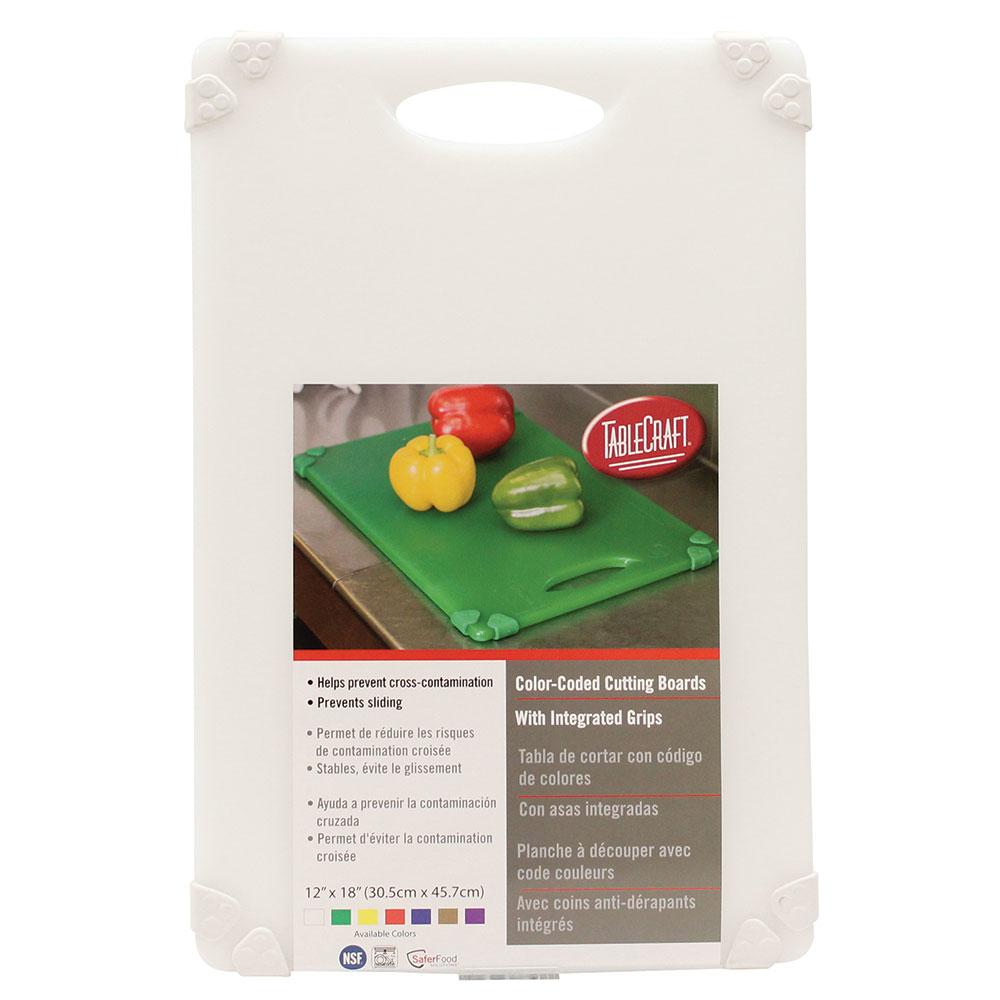 """Tablecraft CBG1218AWH Cutting Board w/ Anti-Slip Grips, 12"""" x 18"""", Polyethylene, White"""