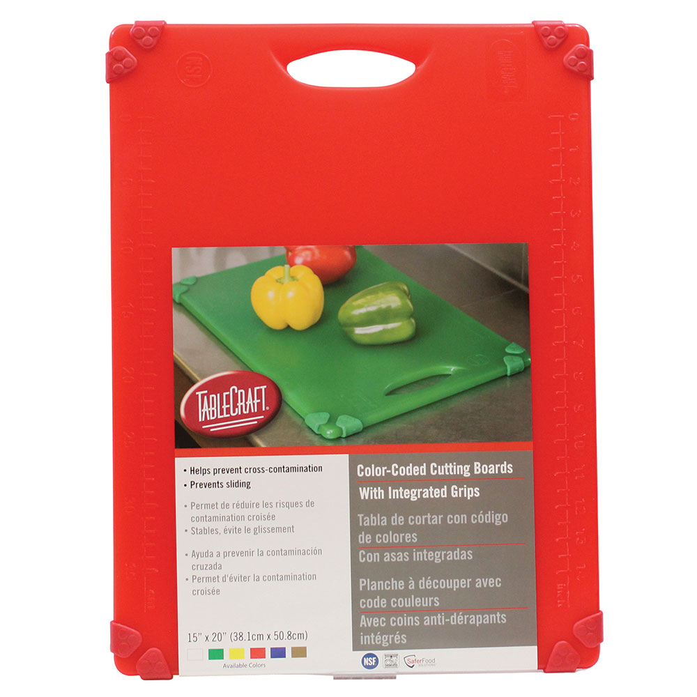 """Tablecraft CBG1520ARD Cutting Board w/ Anti-Slip Grips, 15"""" x 20"""", Polyethylene, Red"""