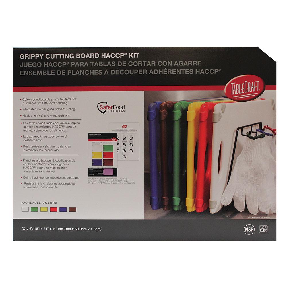 "Tablecraft CBG1824APK6 Cutting Board Kit w/ Anti-Slip Grips, (6) 18"" x 24"" Boards, Polyethylene"