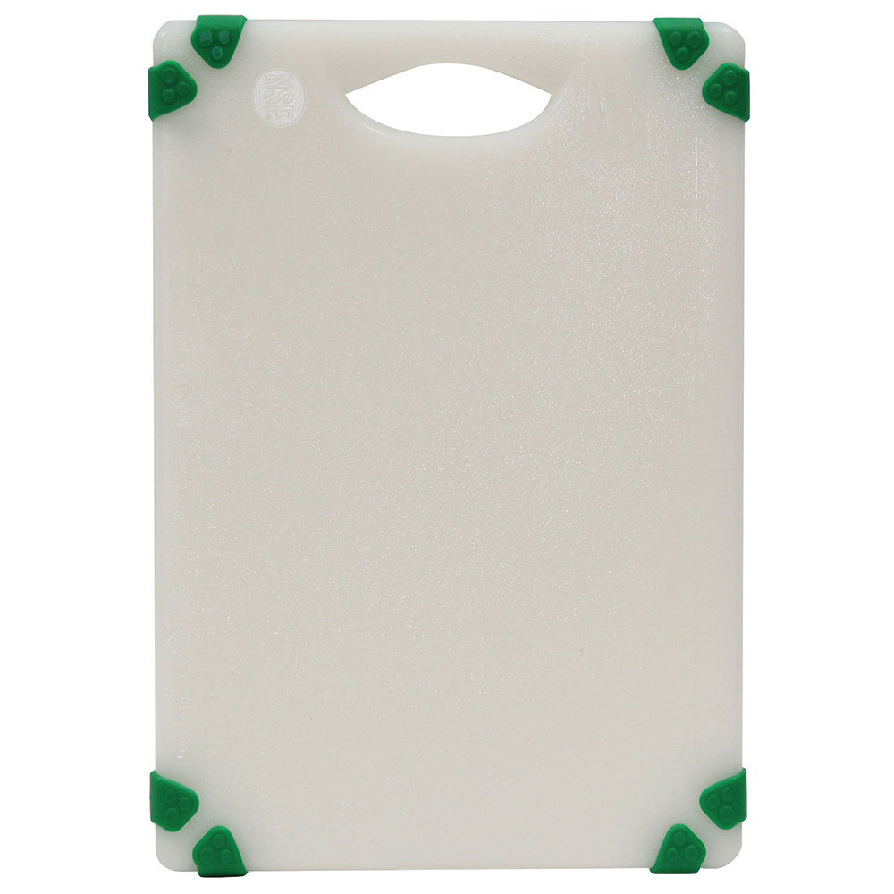 "Tablecraft CBGW610AGN Cutting Board - 6"" x 10"", Polyethylene, White w/ Green Grips"