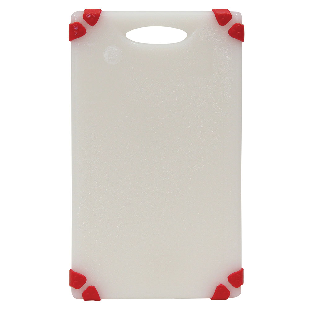 "Tablecraft CBGW610ARD Cutting Board - 6"" x 10"", Polyethylene, White w/ Red Grips"