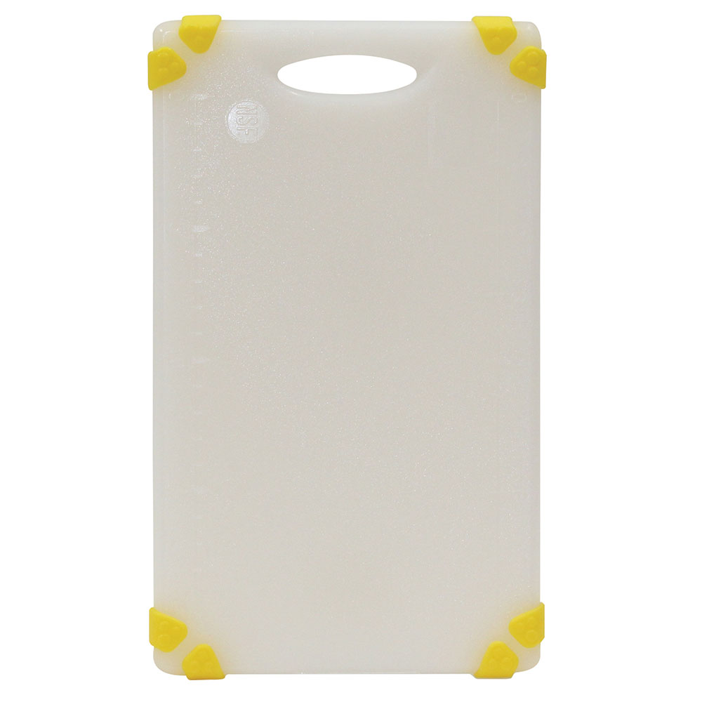 "Tablecraft CBGW610AYL Cutting Board - 6"" x 10"", Polyethylene, White w/ Yellow Grips"
