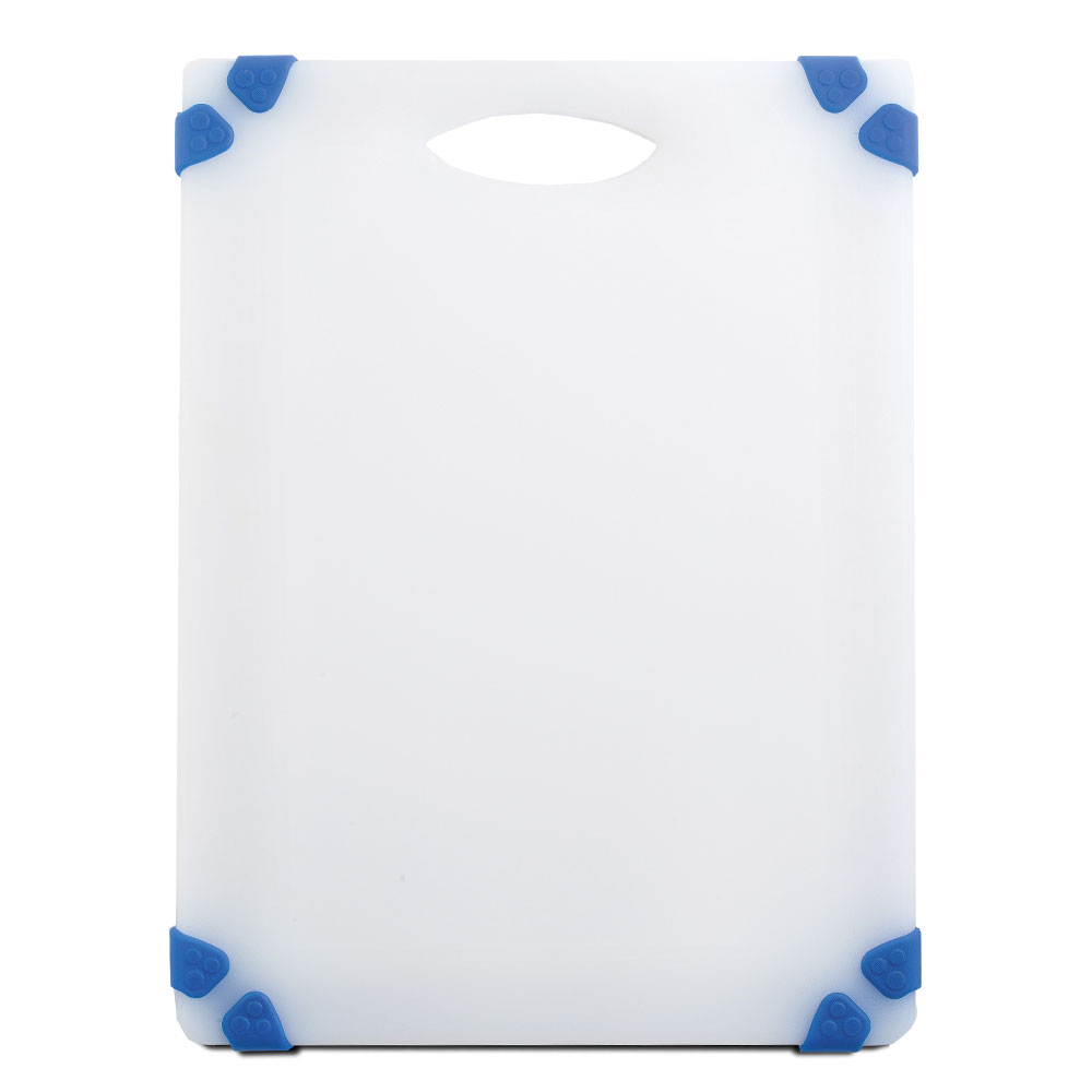 "Tablecraft CBGW912ABL Cutting Board - 9"" x 12"", Polyethylene, White w/ Blue Grips"