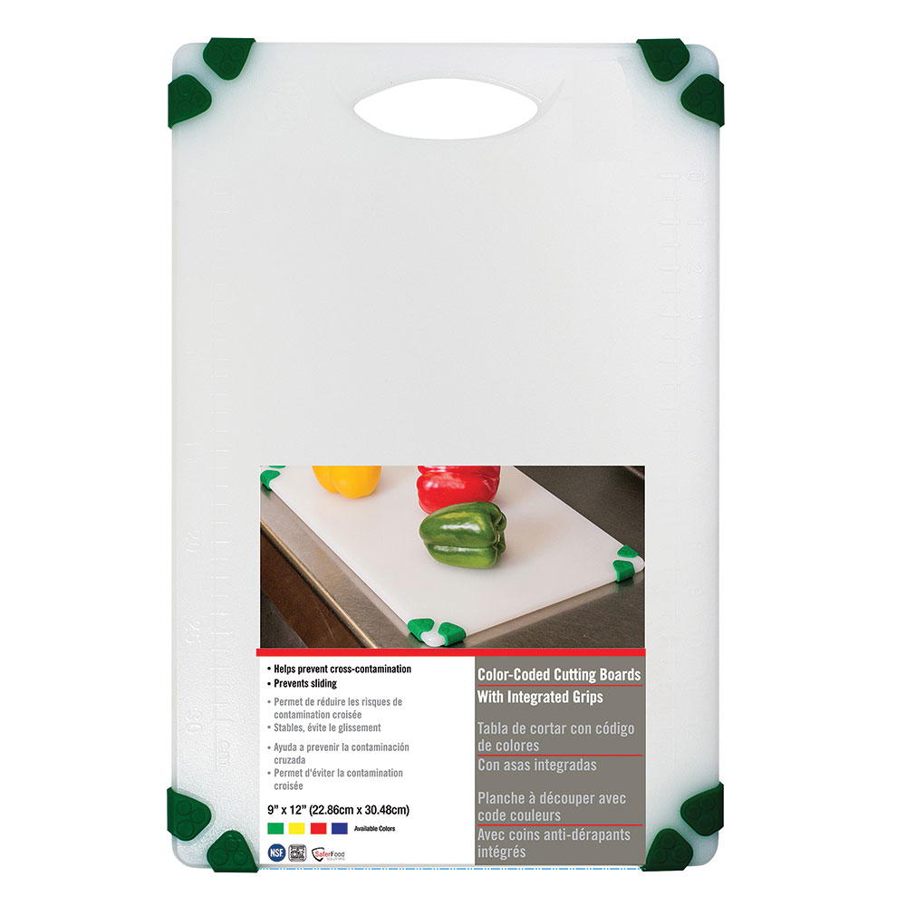"Tablecraft CBGW912AGN Cutting Board - 9"" x 12"", Polyethylene, White w/ Green Grips"