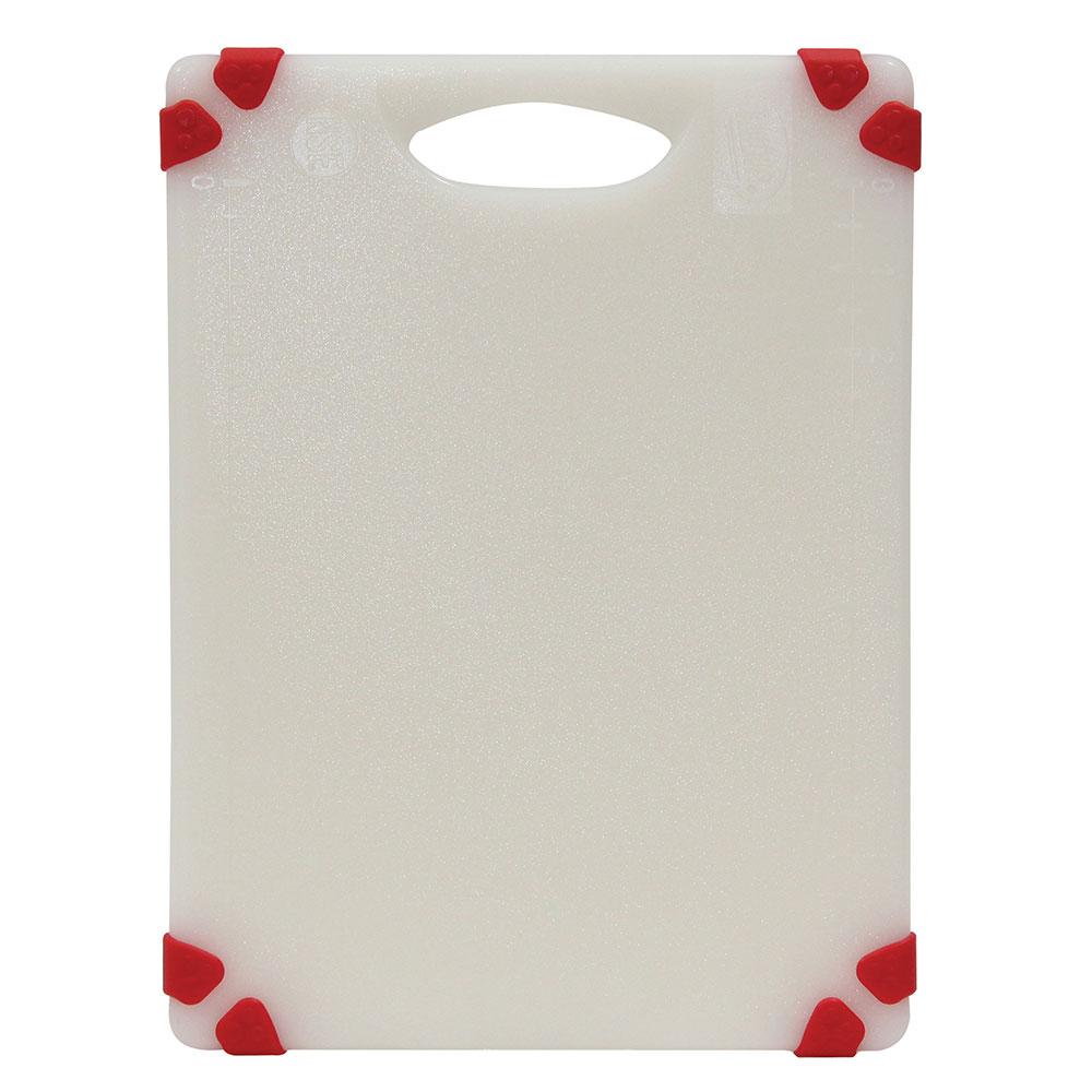 """Tablecraft CBGW912ARD Cutting Board - 9"""" x 12"""", Polyethylene, White w/ Red Grips"""